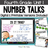 Fourth Grade Number Talks - Unit 1 (DIGITAL and Printable)