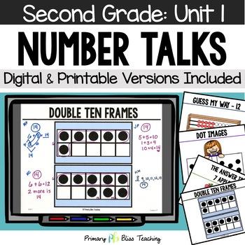 Number Talks / Math Talks September of Second Grade ~ Common Core Aligned