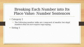 Number Talks: Second Grade - Breaking Each Number into Its Place Value