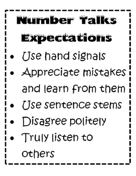 Number Talks Sentence Stems and Expectations Posters