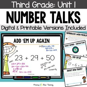 Number Talks - September of Third Grade~ Common Core Aligned