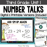 Third Grade Number Talks Unit 1 for Classroom and DISTANCE