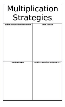 Number Talks Strategies Anchor Charts