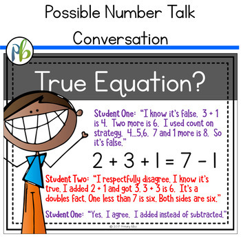 Number Talks - Understand the Meaning of the Equal Sign (DIGITAL and Printable)