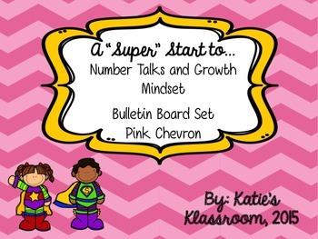 Number Talks and Growth Mindset Bulletin Board Set (Pink Chevron)