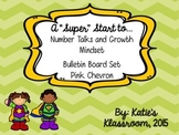 Number Talks and Growth Mindset Bulletin Board Set (Green Chevron)