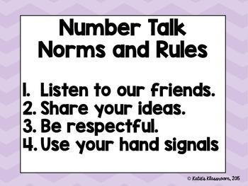 Number Talks and Growth Mindset Bulletin Board Set (Purple Chevron)