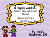 Number Talks and Growth Mindset Bulletin Board Set (Purple Chevron)