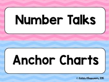 Number Talks and Growth Mindset Bulletin Board Set (Rainbow Chevron)