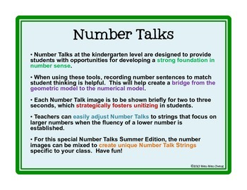 Number Talks with Summer Images (Kinder/1st)