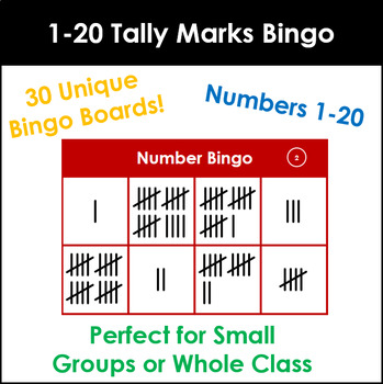 Number Tally Marks Bingo 1-20. Up to 30 players!