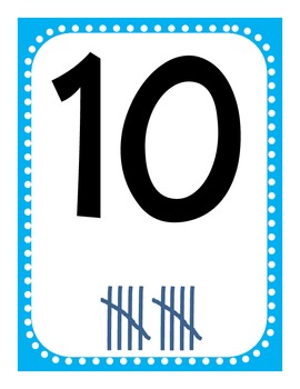 Number Tally Posters and Worksheets 1-20 in Blue