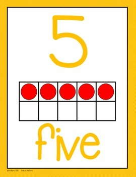 Number - Ten Frame Anchor Charts - Orange