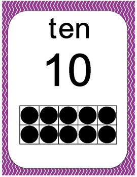 Number Ten Frames 0 to 20 - Chevron Pattern in Purple