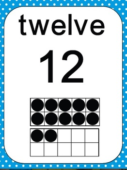 Number Ten Frames 0 to 20 - Polka Dots in Blue