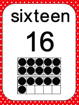Number Ten Frames 0 to 20 - Polka Dots in Red