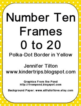 Number Ten Frames 0 to 20 - Polka Dots in Yellow