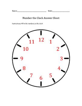 Number The Clock Worksheet