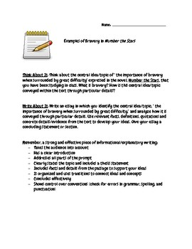 Number The Stars Bravery Essay W Chart By Simple Stuff We All Need Number The Stars Bravery Essay W Chart