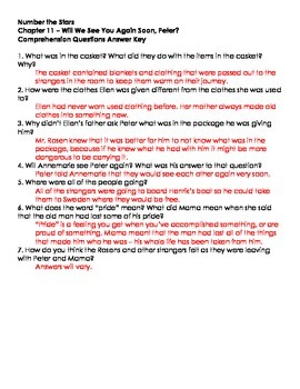 Number The Stars - Ch. 11 and 12 Comprehension Questions