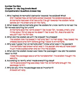Number The Stars - Ch. 15, 16, and 17 Comprehension Questions