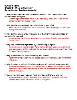 Number The Stars - Ch. 3 and 4 Comprehension Questions