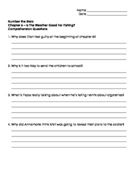Number The Stars - Ch. 5 and 6 Comprehension Questions
