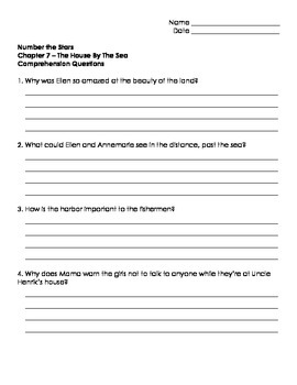 Number The Stars - Ch. 7 and 8 Comprehension Question