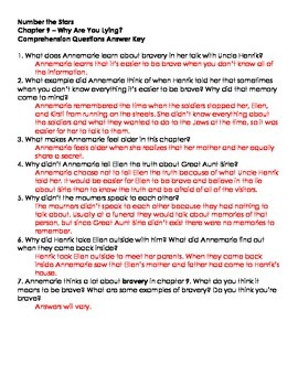 Number The Stars - Ch. 9 and 10 Comprehension Questions
