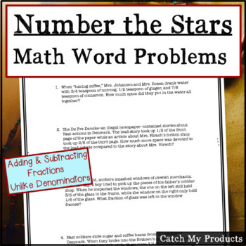 Number The Stars: Fraction Word Problems for Novel by Lois Lowry