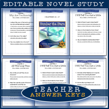 Number The Stars Novel Study /  Chapters 10-12 / Editable / Answer Keys
