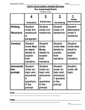Number The Stars Pre-Assessment with Rubrics