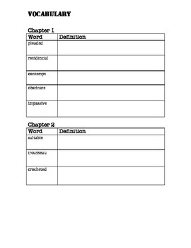 Number The Stars Vocabulary Recording Sheet