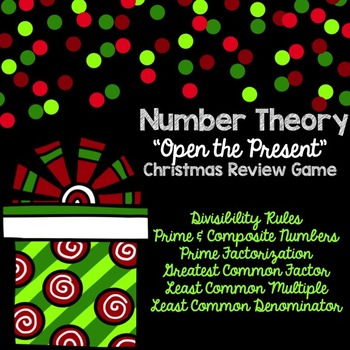 Number Theory Christmas Game for SMARTBOARD - (Primes, GCF