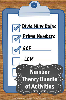 Number Theory, GCF and LCM, Divisibility Rules, Prime Factorization BUNDLE