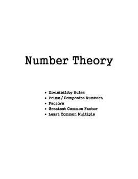 Number Theory Notes Packet