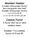 Number Theory (Prime Time) Vocabulary Cards