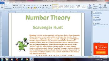Number Theory Scavenger Hunt (Divisibility, GCF,LCM)