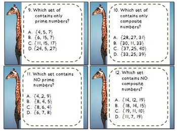 Number Theory Task Card/Scoot Activity: 5 Sets; 144 Cards