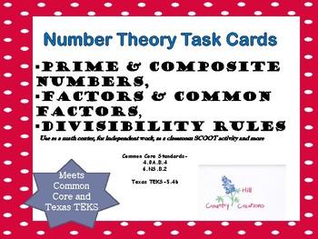 PRIME, COMPOSITE, MULTIPLES, FACTORSTASK CARDS Common Core and TEKS 5.4b