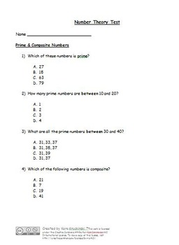 Number Theory Test: Prime/Composite, Divisibility, Factors, Square #'s/Roots