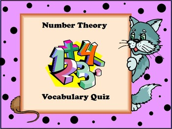 Number Theory Vocabulary Quiz