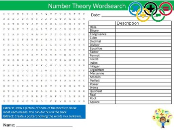 Number Theory Wordsearch Puzzle Sheet Keywords Math Mathematics Numbers