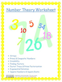 Number Theory Worksheet: Prime/Comp., Divisibility, Factors, Square #'s/Roots