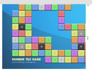 Number Tile Math Game from Johnnie's Math Page