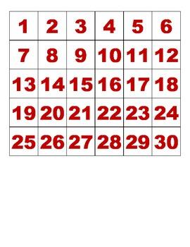 Number Tiles 1-30