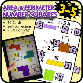 Number Tiles: Area & Perimeter Square Tile Printed Cards o