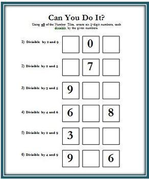 Number Tiles: FREE Problem Solving Math Activities for Grades 5-8