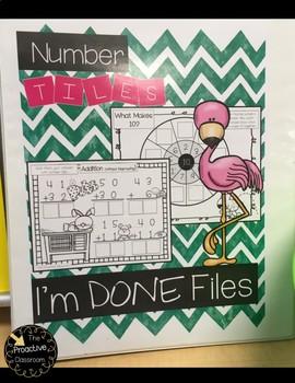 Number Tiles I'm Done Files FREEBIE!!