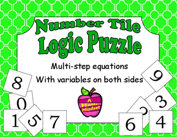 Number Tiles Logic Puzzle Multi Step Equations with variables on both sides